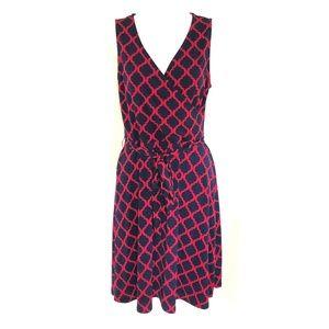 41 Hawthorn Dress A Line Sleeveless Geometric Navy